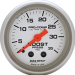 Autometer Gauge, Ultra-Lite, Boost Pressure, 0-35 psi, 2 1/16 in., Analog, Mechanical, Each