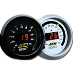 AEM Gauge, Digital, Boost/Vacuum, 30 in. Hg/35 psi, 2 1/16 Diameter, Electrical, Red, Each