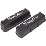 Trick Flow Specialties Valve Covers, Blank-No Holes, Tall, Black, Cast Aluminum, Ford, Big Block, Pair