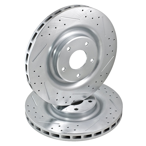 Brake Rotor, Cross-Drilled, Slotted, Iron, Zinc Dichromate Plated,  Passenger Side, Rear, Chevy, Corvette, Each