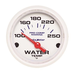 Autometer Marine White Gauge 2-1/16in Electric Water Temperature Gauge 100-250 Deg F
