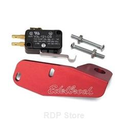 Edelbrock Microswitch Kit, Includes Bracket for 4500 Carbs, Black Switch, Red Anodized Bracket, Kit 72281