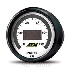 AEM Electronics Gauge, Fuel/Oil Pressure, 0-100 psi, Digital, Electric, Each 30-4401