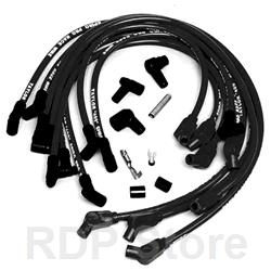 Ford Racing Spark Plug Wires, Spiral Wound, 9mm, Black, 45 Degree Boots, Ford, Lincoln, Mercury, 5.0/5.8L, V8, Set